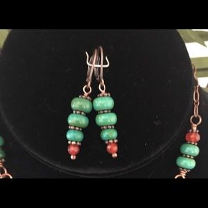 Rhodes Jewelry Jewelry - Turquoise Carnelian Copper Necklace Earring Set